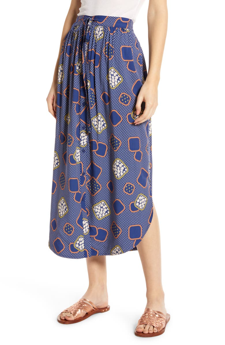 THE ODELLS Button Front Midi Skirt, Main, color, BARI