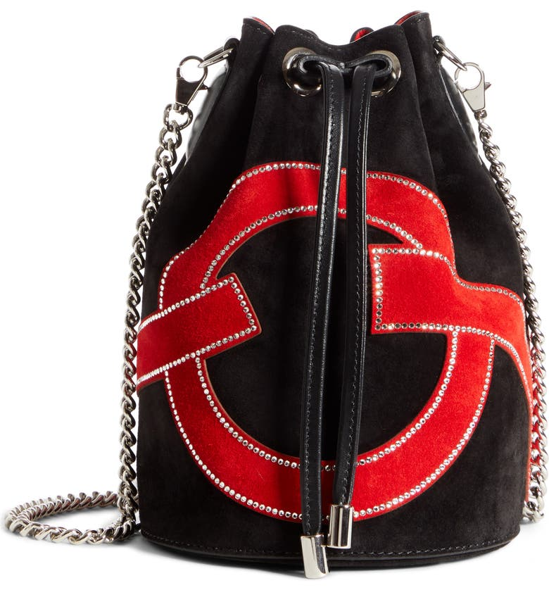 CHRISTIAN LOUBOUTIN Marie Jane Love Suede Bucket Bag, Main, color, BLACK/ RED/ CRYSTAL