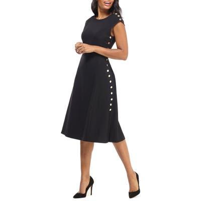 Maggy London Desk To Dinner Button Trim A-Line Dress, Black