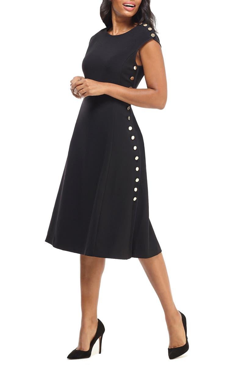 MAGGY LONDON Desk to Dinner Button Trim A-Line Dress, Main, color, BLACK