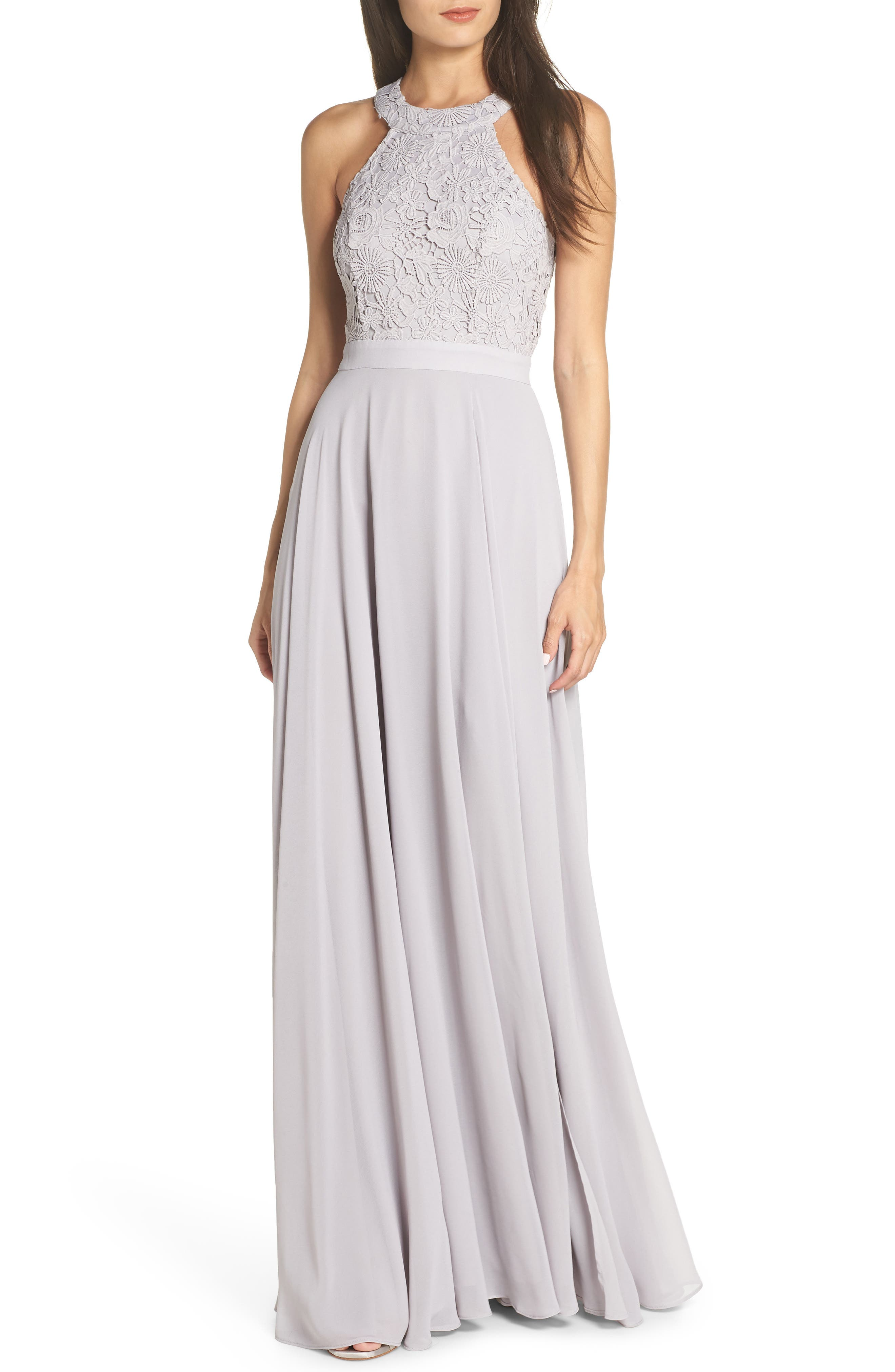 Lulus Love Poem Lace Halter Gown, Grey