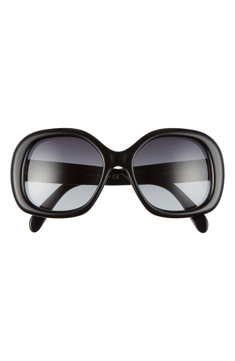 CELINE 55mm Gradient Round Sunglasses, Main, color, SHINY BLACK/ GRADIENT SMOKE