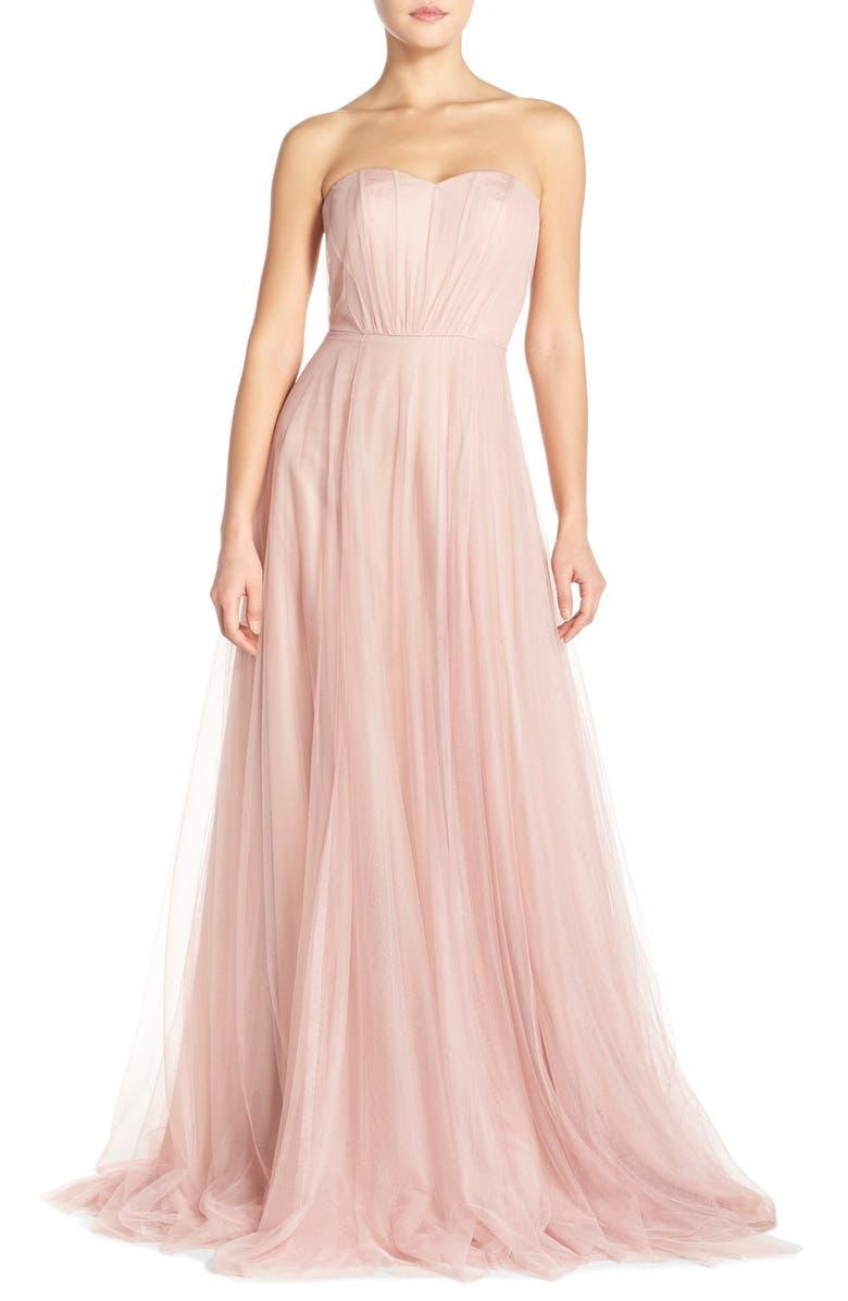 MONIQUE LHUILLIER BRIDESMAIDS Strapless Tulle Gown, Main, color, 685