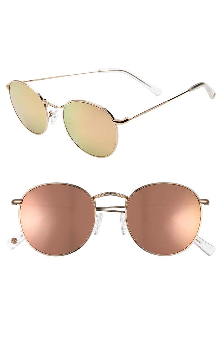 BRIGHTSIDE Charlie 50mm Mirrored Round Sunglasses, Main, color, JAPANESE GOLD/ COPPER MIRROR
