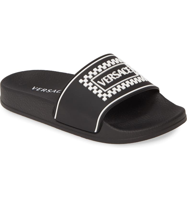 VERSACE '90s Vintage Logo Slide Sandal, Main, color, BLACK/ WHITE