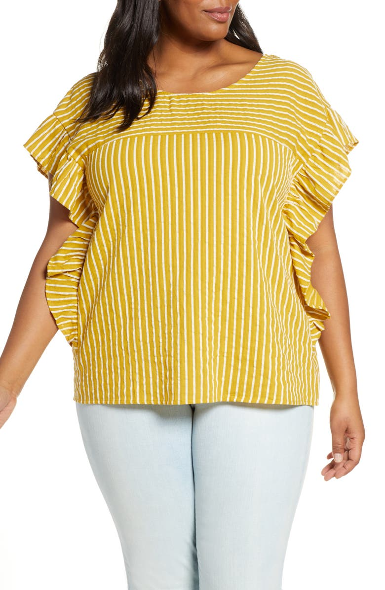 ELOQUII Stripe Bow Cotton Top, Main, color, 700