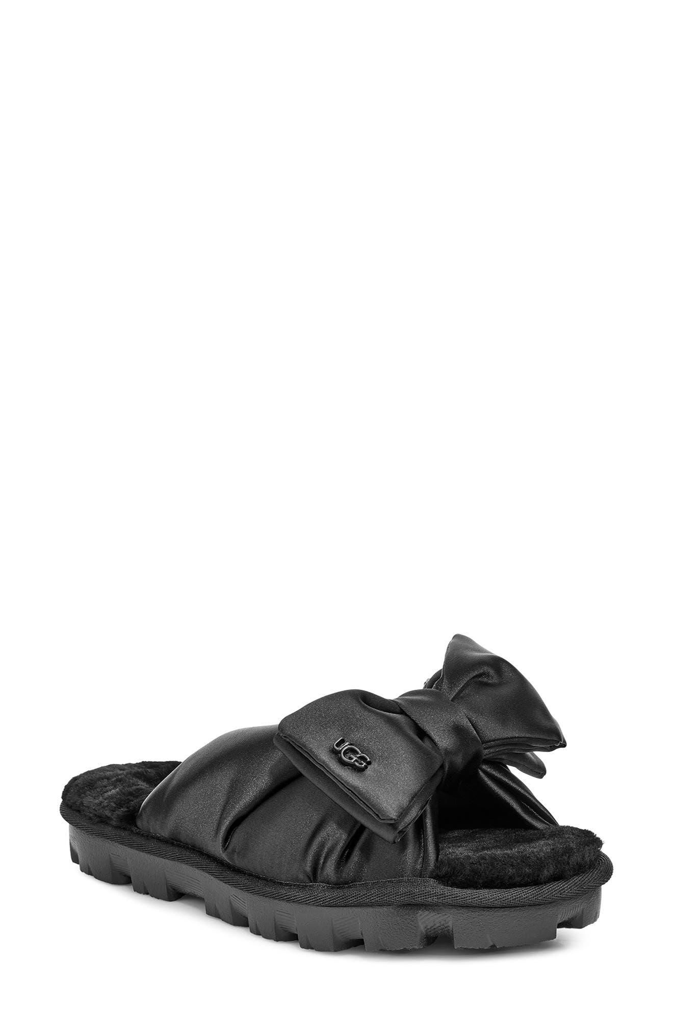 Ugg Lushette Puffer Genuine Shearling Slide Slipper, Black