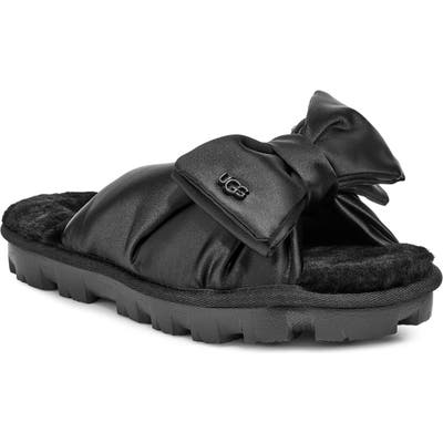 Ugg Lushette Puffer Genuine Shearling Slide, Black