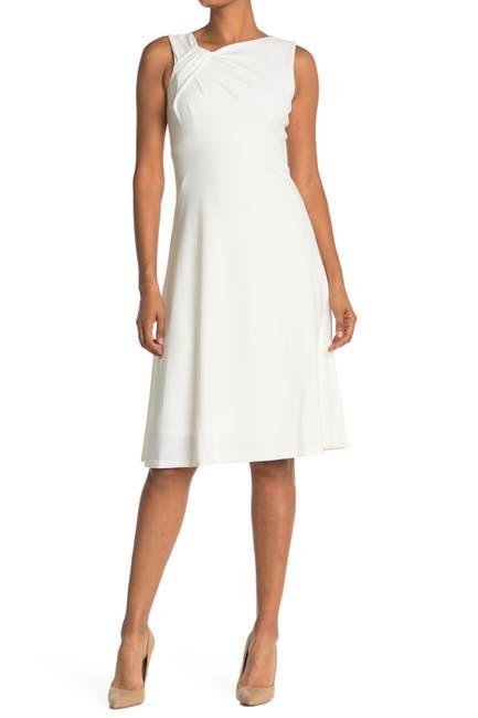 Image of Calvin Klein Asymmetric Neck A-Line Dress