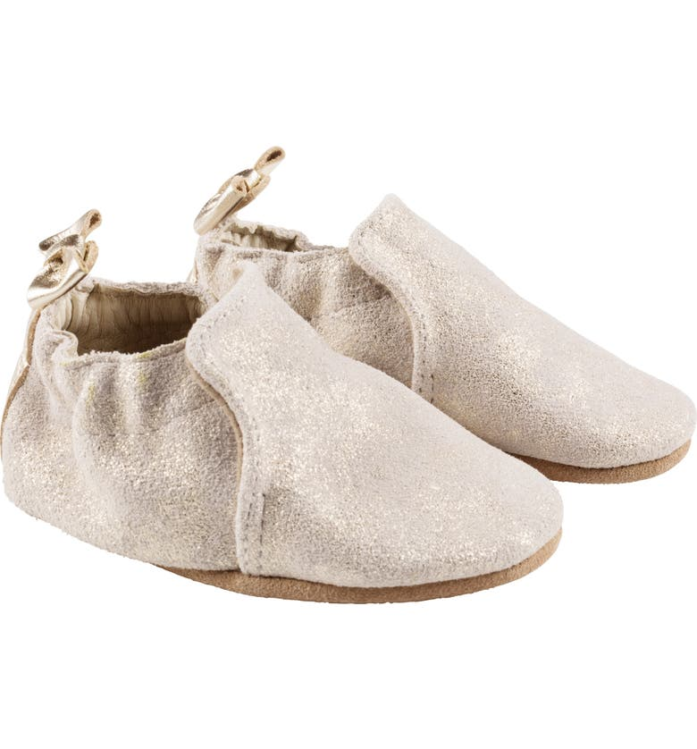 ROBEEZ<SUP>®</SUP> Pretty Pearl Metallic Bow Crib Shoe, Main, color, 710