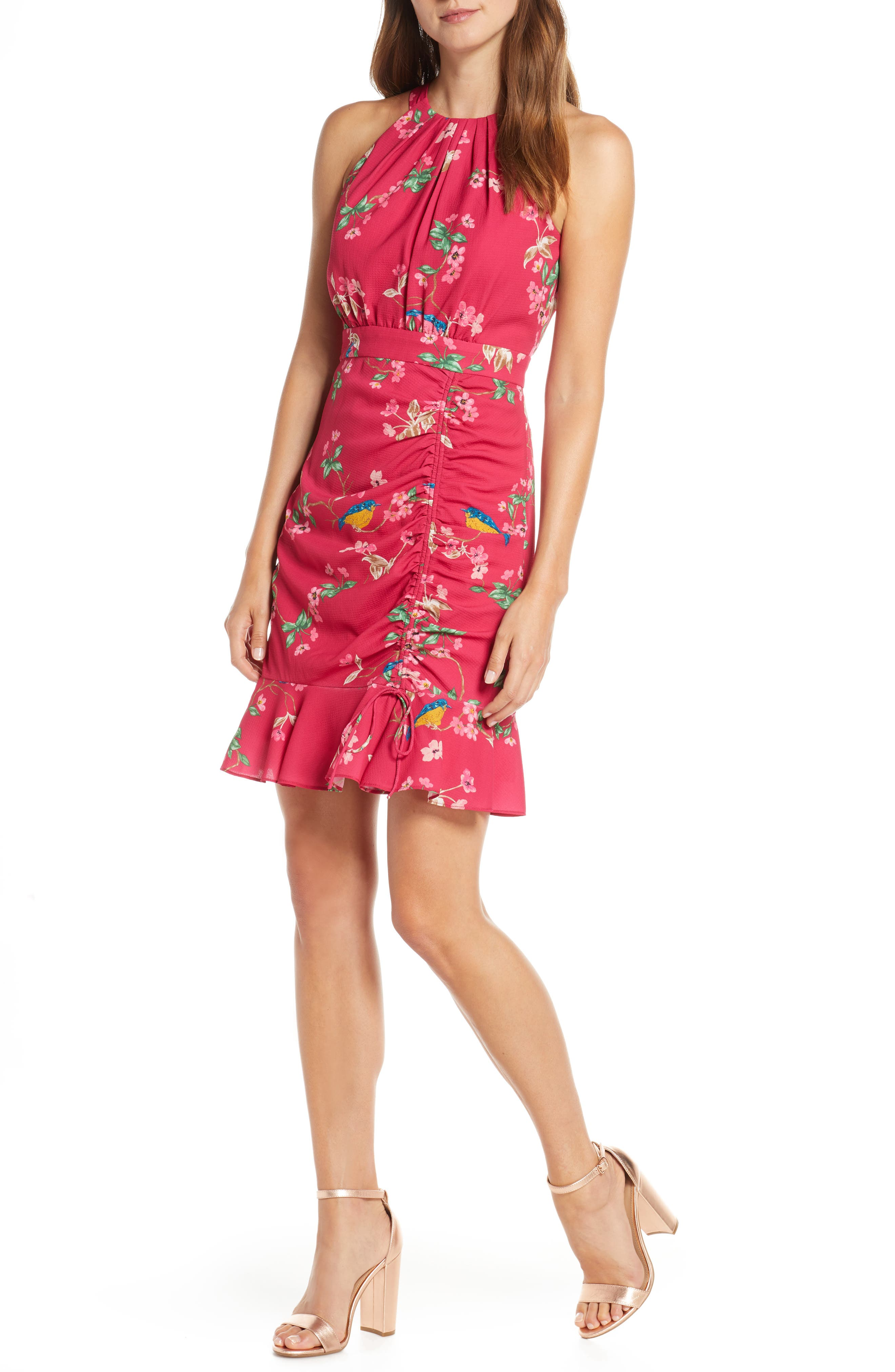 Floral Ruched Ruffle Minidress