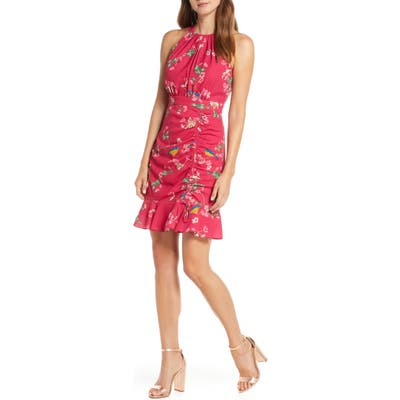 Eliza J Floral Ruched Ruffle Minidress, Pink