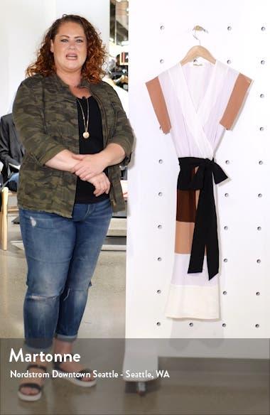 Ingrid Colorblock Silk Wrap Dress, sales video thumbnail