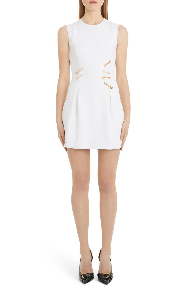 VERSACE Safety Pin Detail Wool Minidress, Main, color, WHITE