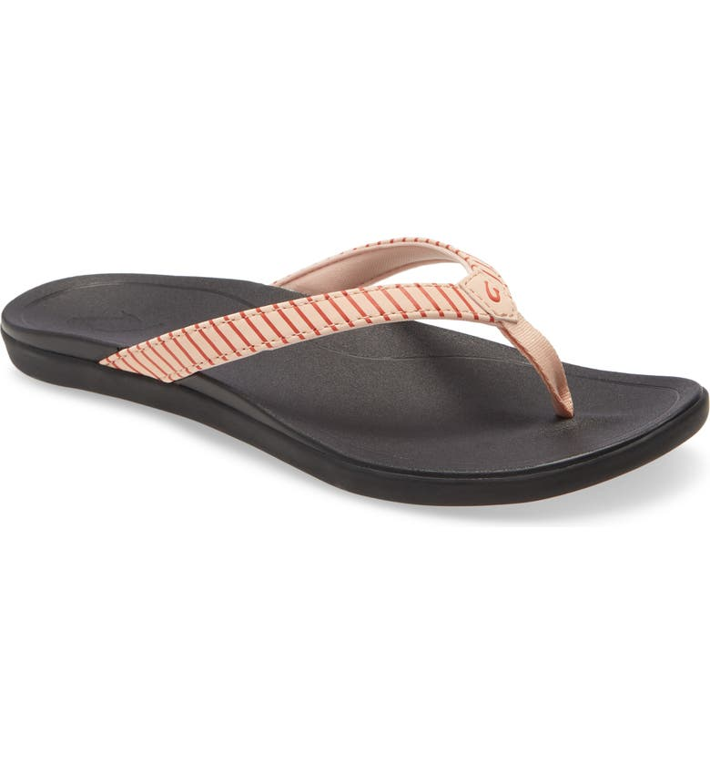 OLUKAI Ho Opio Flip Flop, Main, color, PINK STRIPE FABRIC