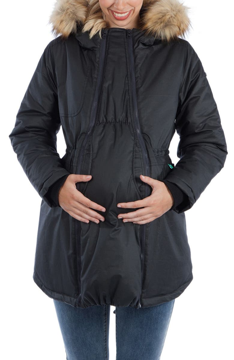 MODERN ETERNITY Sofia Waxed 3-in-1 Maternity/Nursing Jacket with Faux Fur Trim, Main, color, BLACK