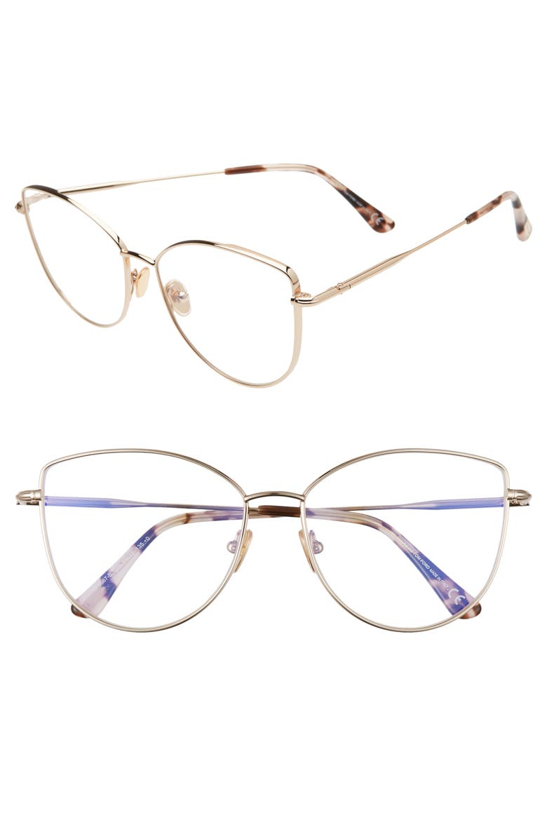 TOM FORD 55mm Round Blue Light Blocking Optical Glasses, Main, color, ROSE GOLD