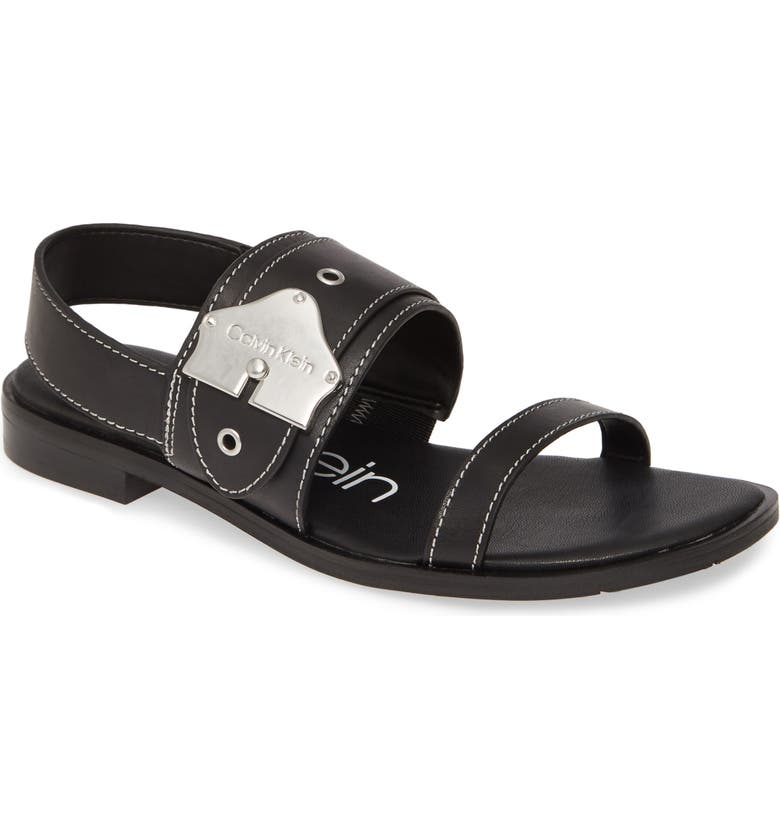 CALVIN KLEIN Telisha Sandal, Main, color, BLACK LEATHER