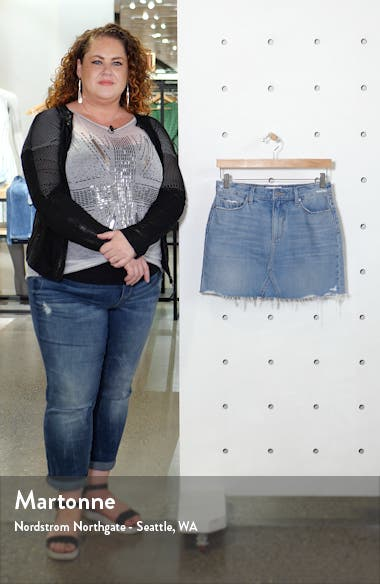 Alethea Raw Hem Denim Miniskirt, sales video thumbnail