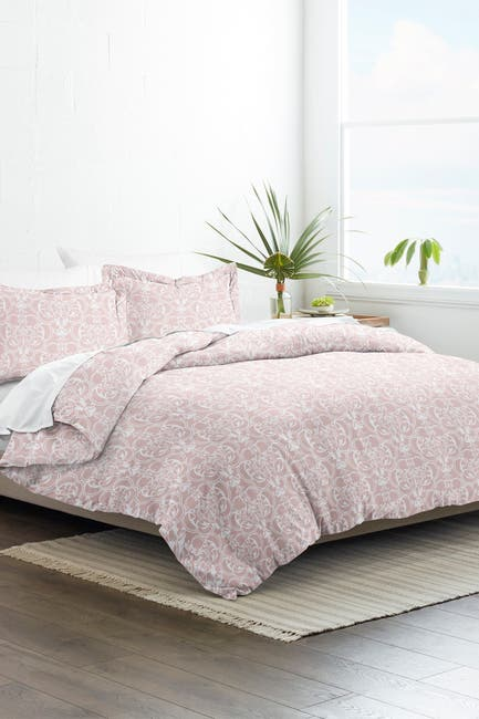 Image of IENJOY HOME Home Collection Premium Ultra Soft Romantic Damask Pattern 3-Piece Full/Queen Duvet Cover Set - Pink