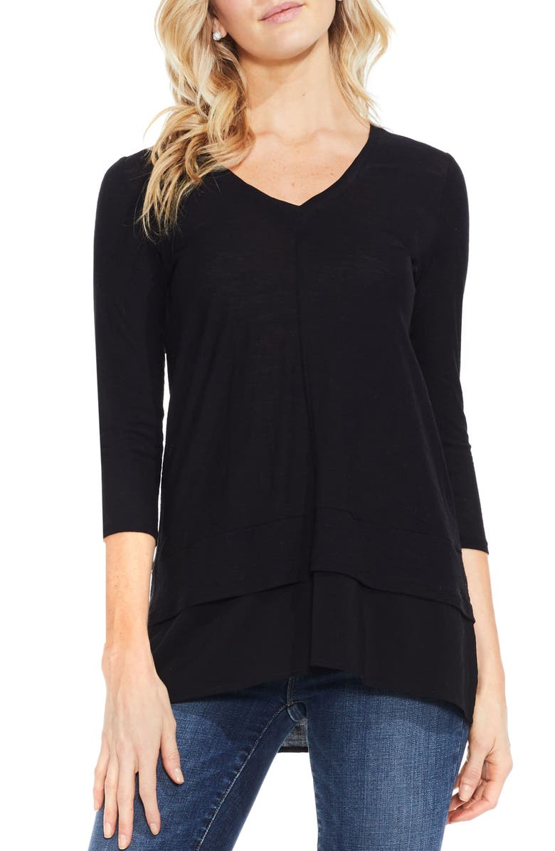 VINCE CAMUTO Two by Vince Camuto Mixed Media Tunic, Main, color, RICH BLACK