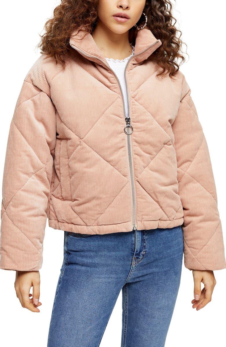 TOPSHOP Corduroy Puffer Coat, Main, color, PINK