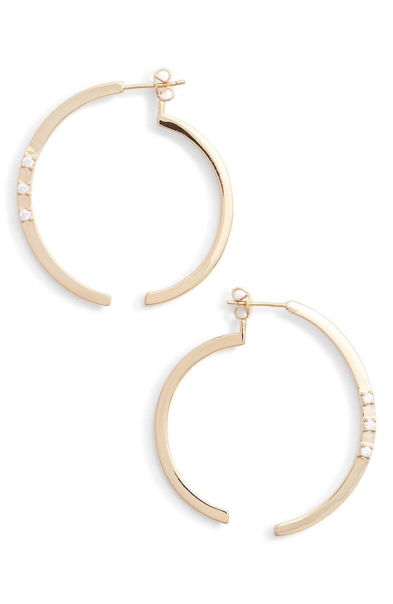 STERLING FOREVER Circle Illusion Hoop Earrings, Main, color, GOLD