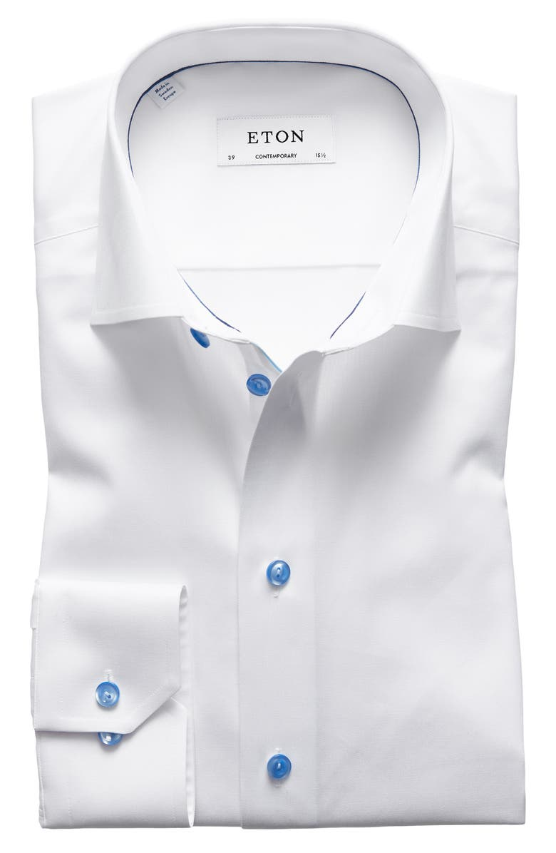 ETON Contemporary Fit Twill Dress Shirt, Main, color, WHITE/ BLUE