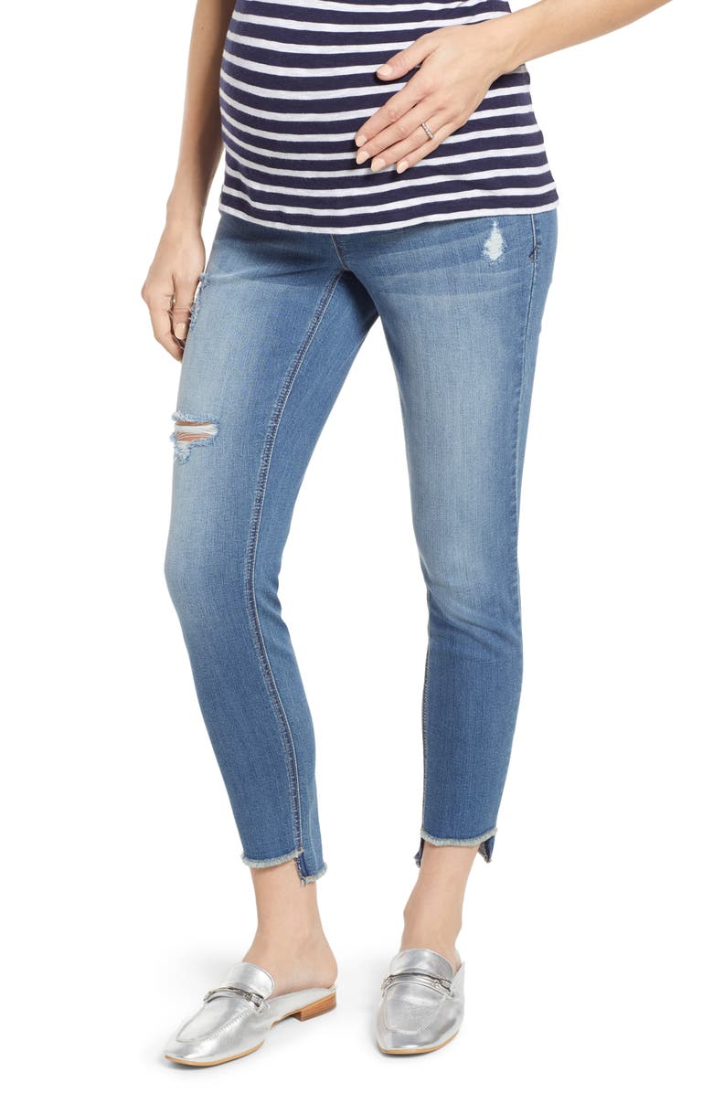 1822 DENIM Step Hem Skinny Maternity Jeans, Main, color, GREG