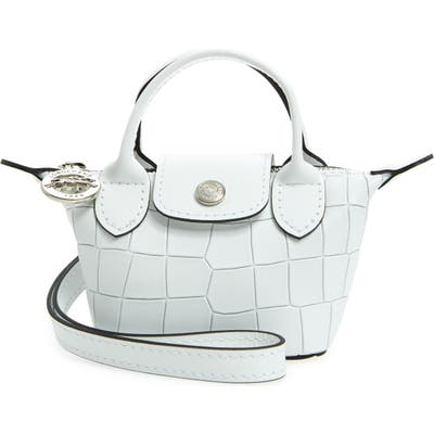 Longchamp Nano Le Pliage Cuir Croc Embossed Leather Top Handle Bag - White
