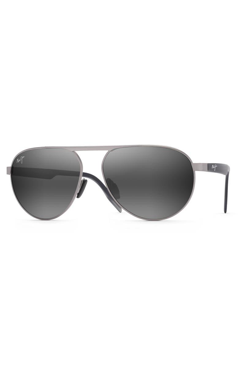 MAUI JIM Swinging Bridges 61mm Polarized Aviator Sunglasses, Main, color, BRUSHED GREY