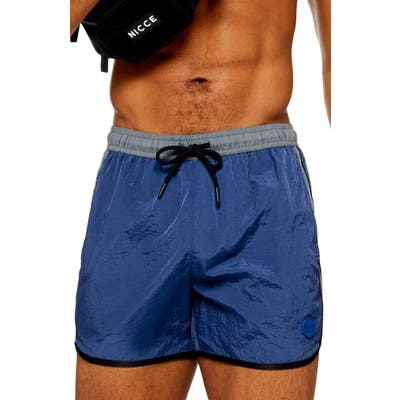 Topman Classic Nylon Swim Trunks, Blue