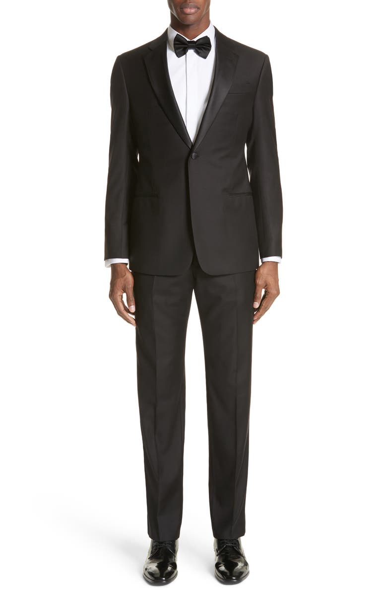EMPORIO ARMANI Trim Fit Wool Tuxedo, Main, color, BLACK
