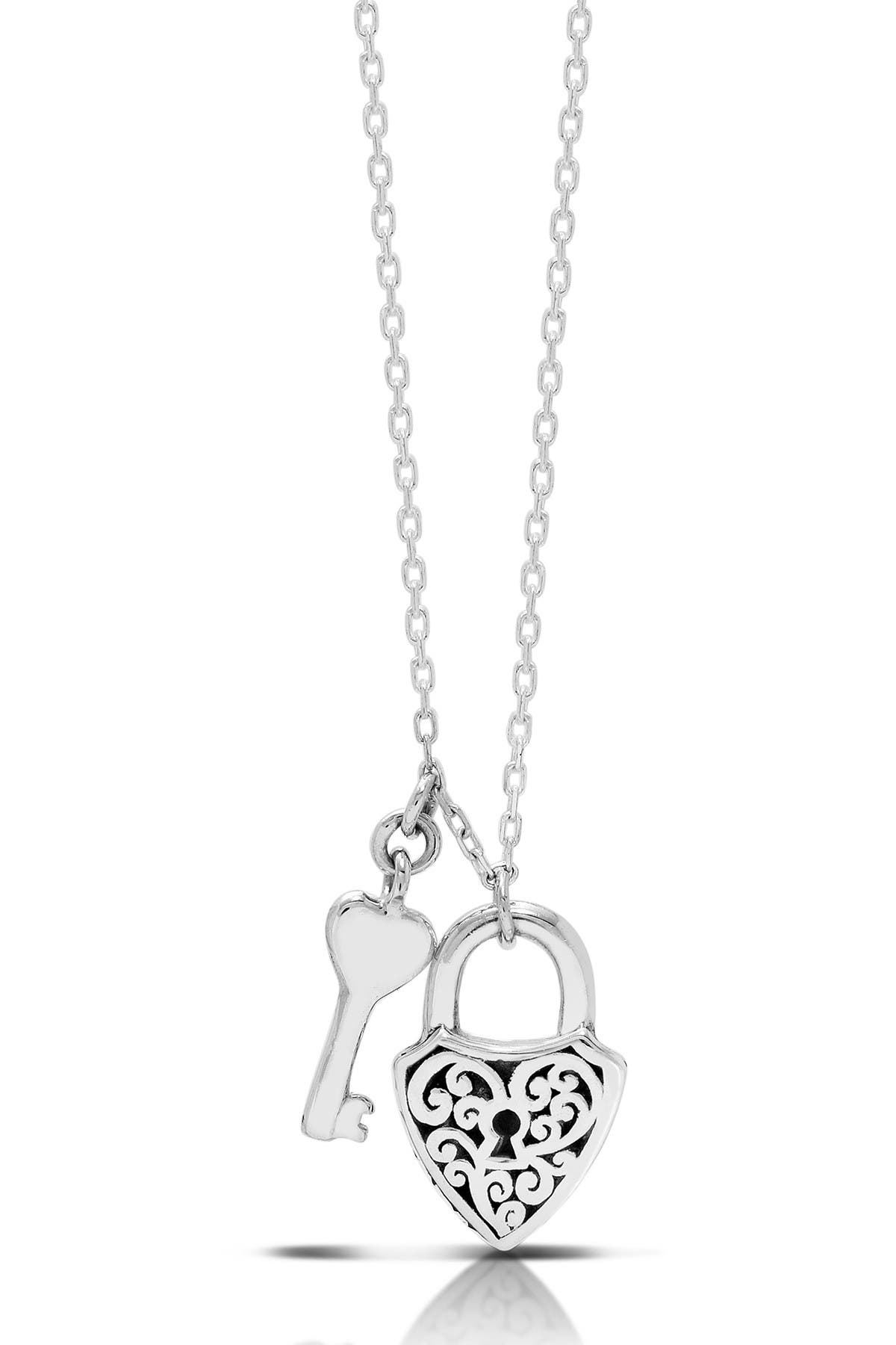 Image of Lois Hill Sterling Silver Baby Padlock Shield Key Pendant Necklace