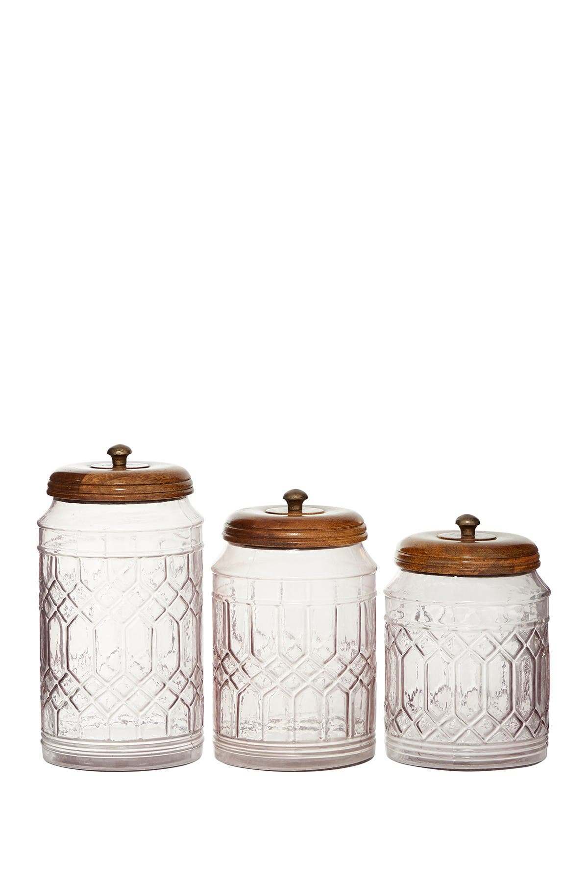 Image of Willow Row Large Round Gray Smoked Glass Jars & Lids - Set of 3