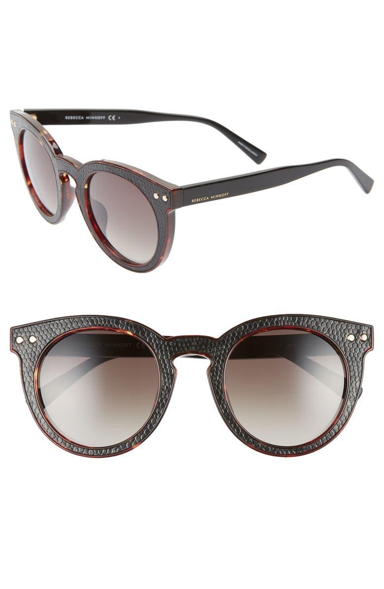 REBECCA MINKOFF Patti1 49mm Round Sunglasses, Main, color, HAVANA/ BLACK
