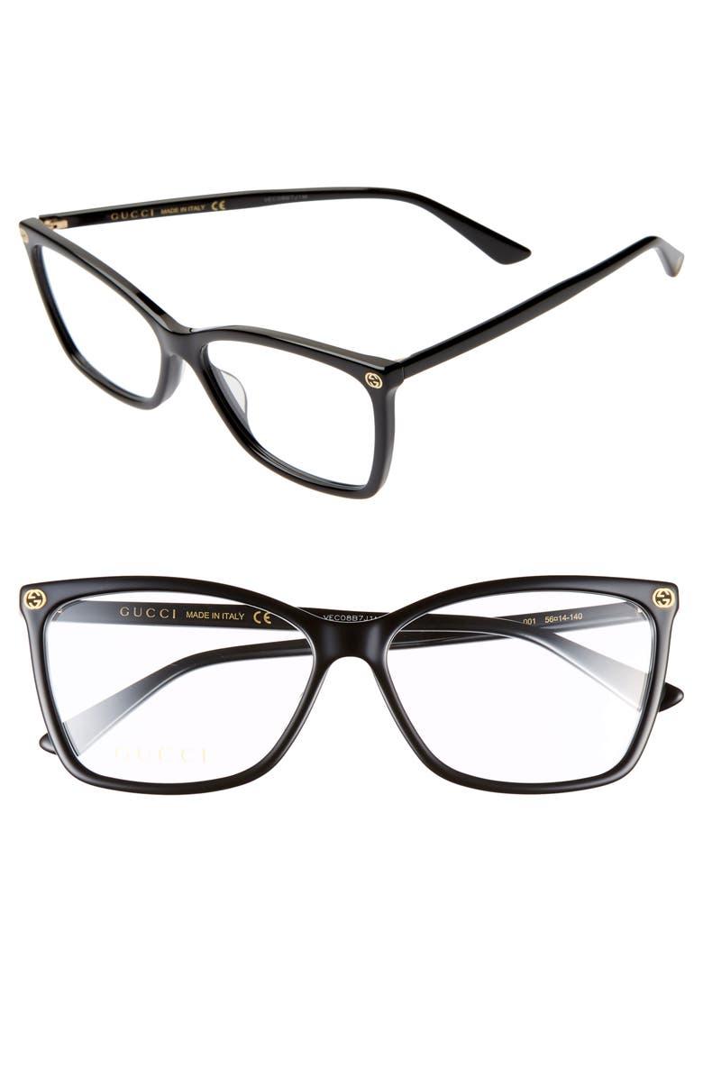 GUCCI 56mm Optical Glasses, Main, color, BLACK