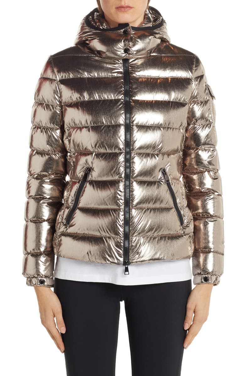 MONCLER Badyfur Metallic Hooded Quilted Down Jacket, Main, color, COPPER