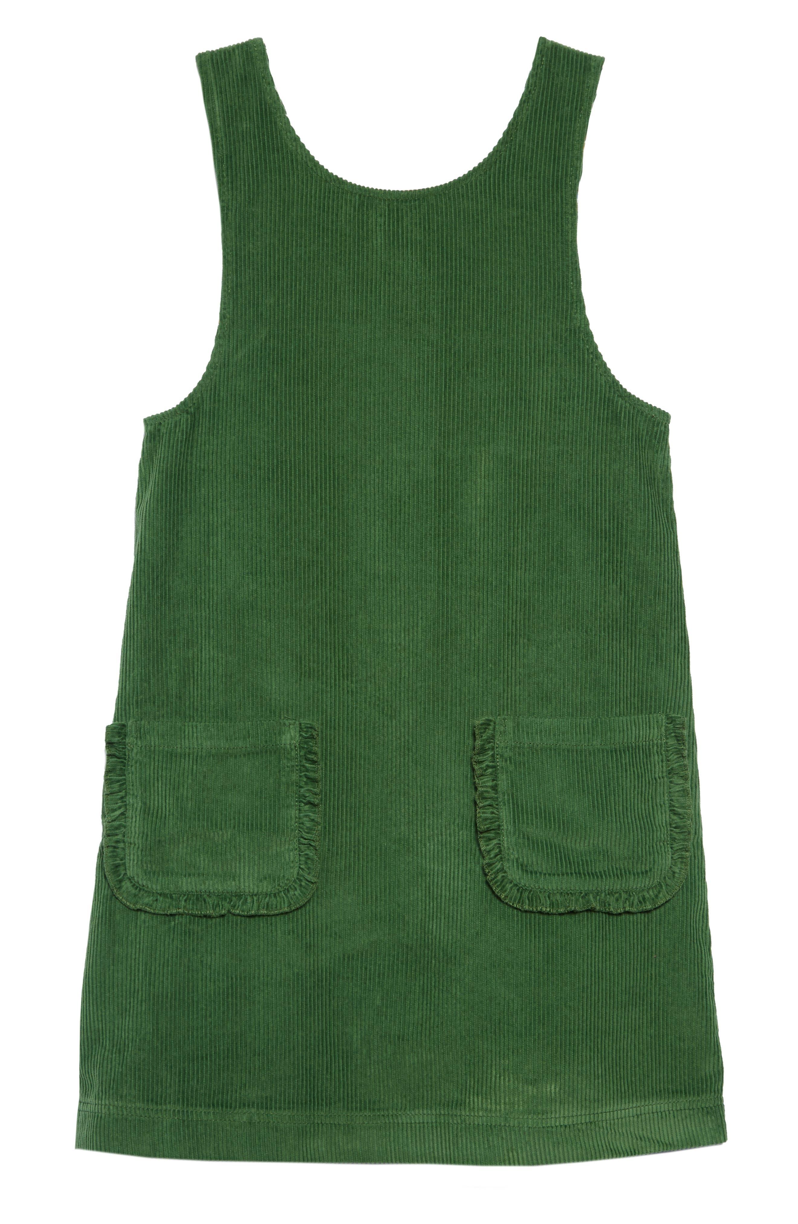60s 70s Kids Costumes & Clothing Girls & Boys Toddler Girls Mini Boden Pocket Corduroy Pinafore Dress Size 3-4Y - Green $45.00 AT vintagedancer.com