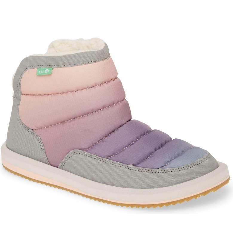 SANUK Puff N' Chill Ombré Quilted Faux Fur Bootie, Main, color, EARLY SUNRISE