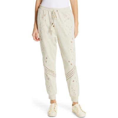 Love Sam Papillon Embroidered Sweatpants, Ivory