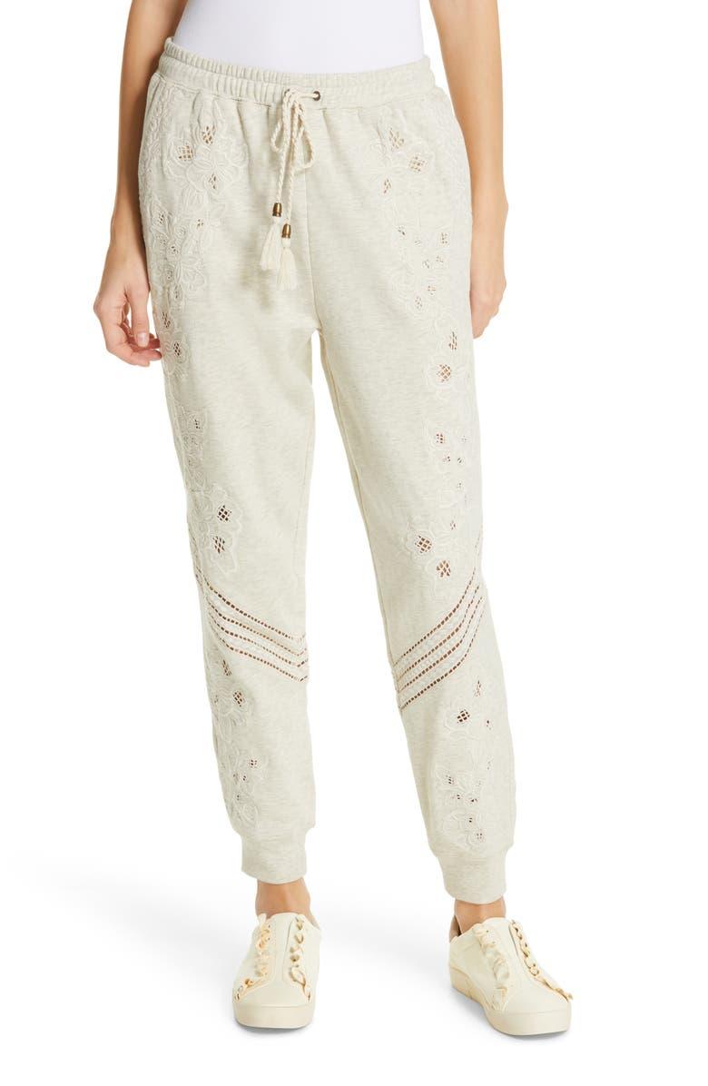 LOVE SAM Papillon Embroidered Sweatpants, Main, color, HEATHER OATMEAL