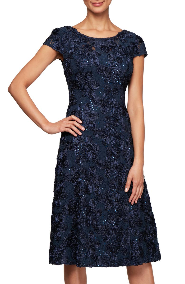 ALEX EVENINGS Rosette Cocktail Dress, Main, color, NAVY