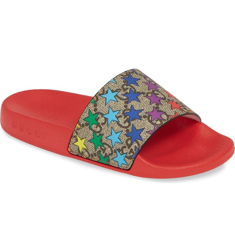 GUCCI Pursuit Slide Sandal, Main, color, RED/ BEIGE/ MULTI