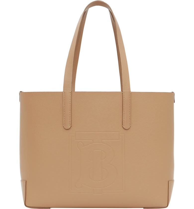 BURBERRY Embossed Monogram Leather Tote, Main, color, CAMEL