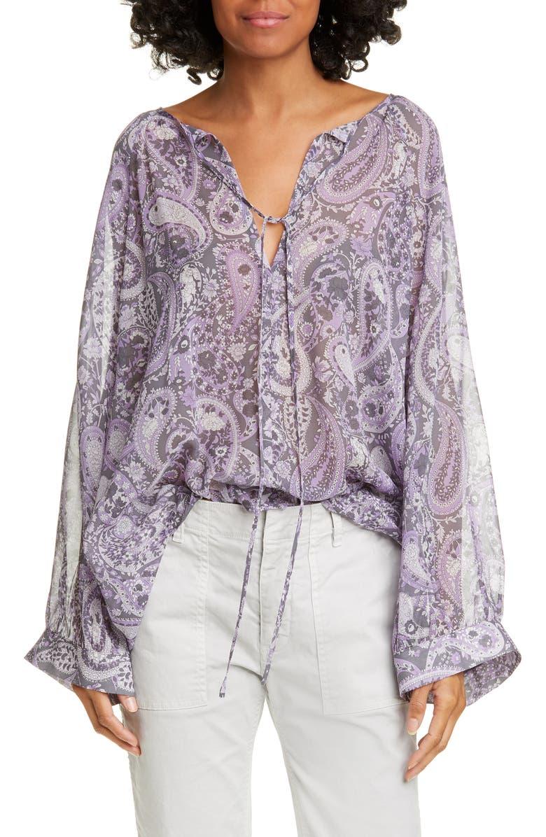 NILI LOTAN Acadia Paisley Print Silk Blouse, Main, color, PURPLE PAISLEY PRINT