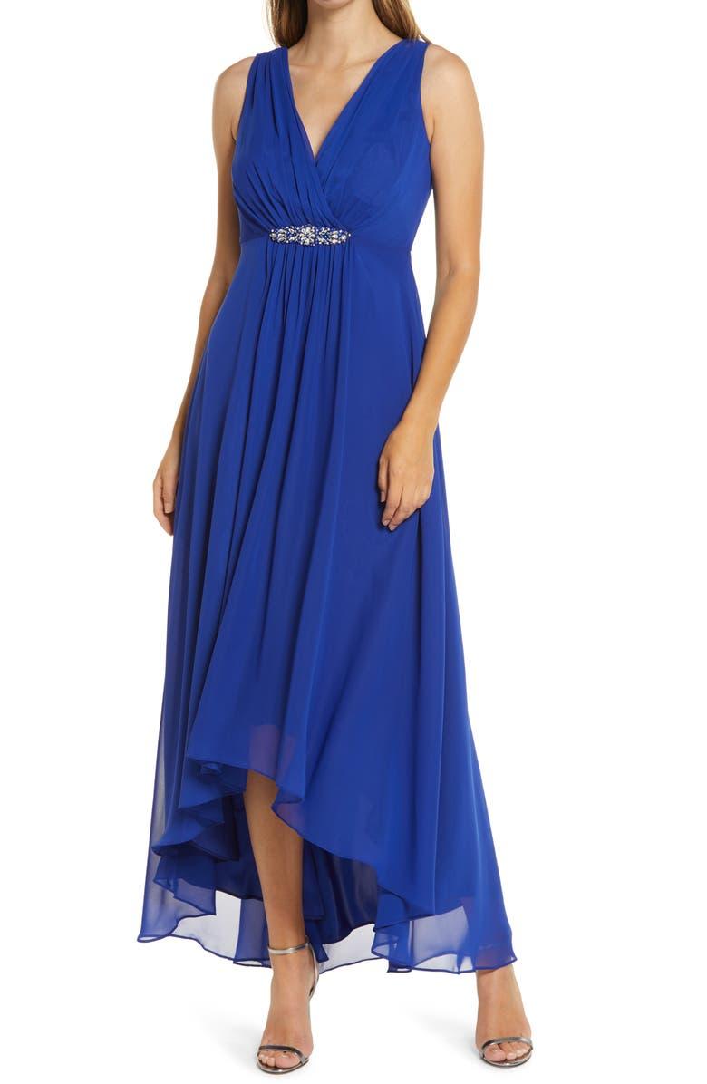 ELIZA J Embellished High/Low Chiffon Dress, Main, color, COBALT