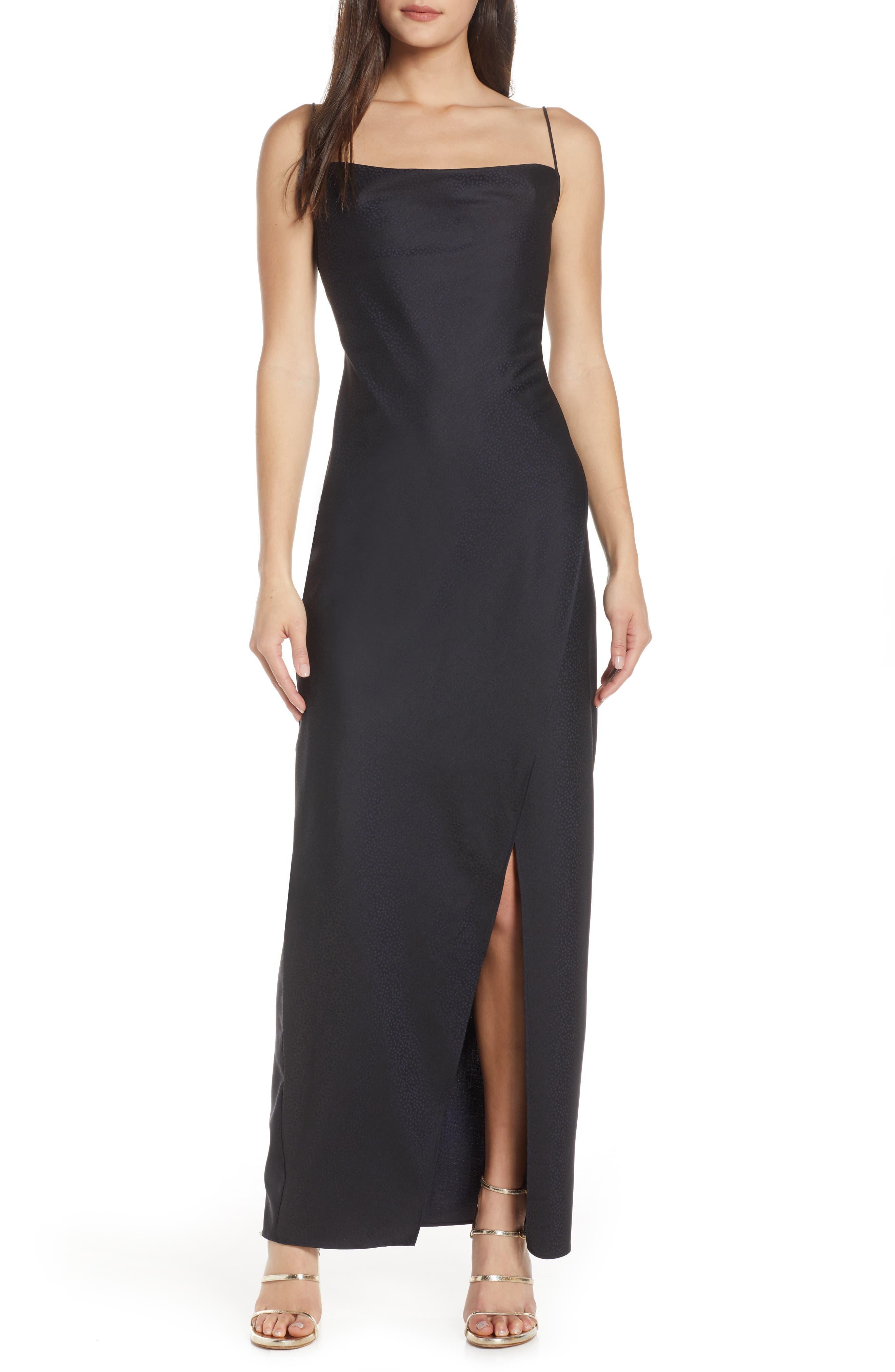 Keepsake The Label Curious Satin Jacquard Maxi Dress, Blue