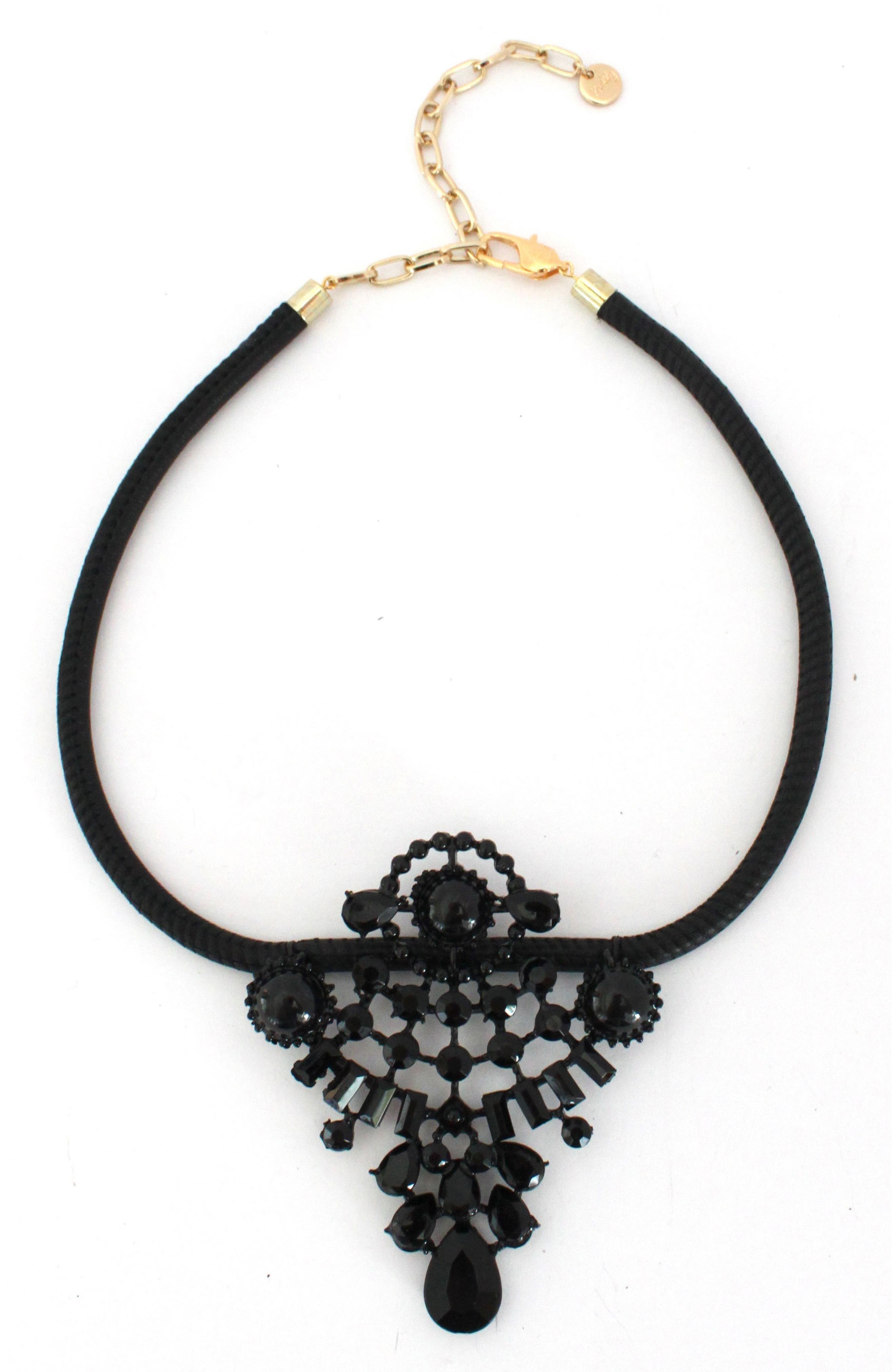 Leather & Crystal Statement Necklace