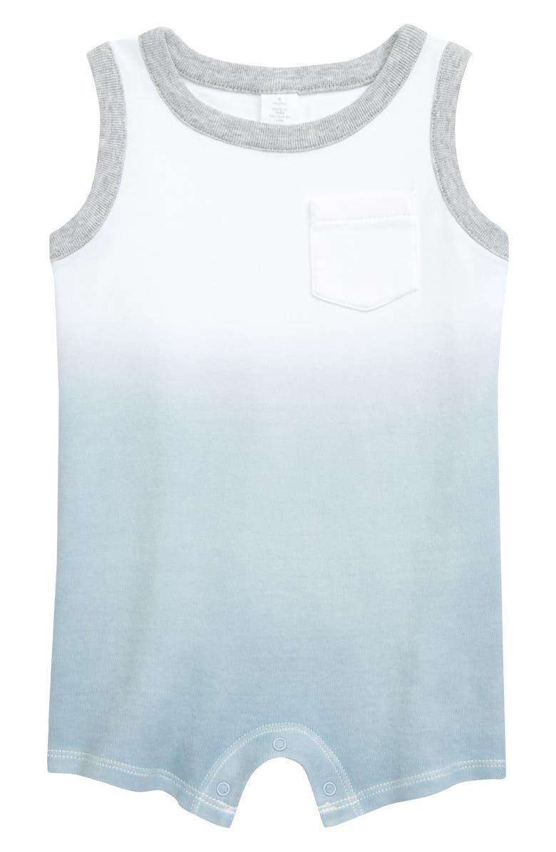 NORDSTROM BABY Dip Dye Romper, Main, color, WHITE- BLUE